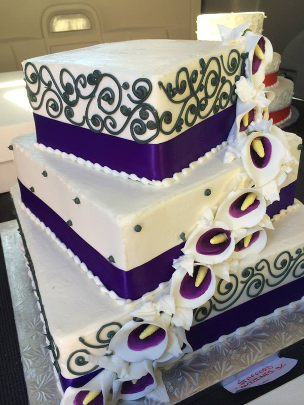 Baltimore, MD 3 tiered square flower wedding cake phillips fairy tale weddings