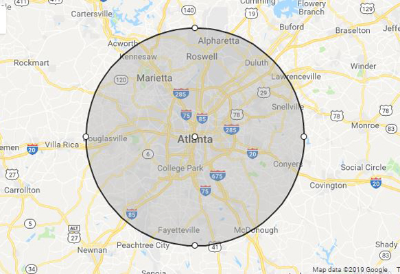 Atlanta, GA phillips weddings service area map
