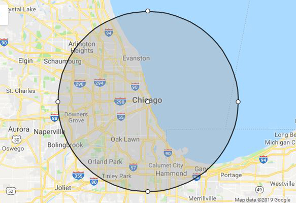 Chicago, IL phillips weddings service area map